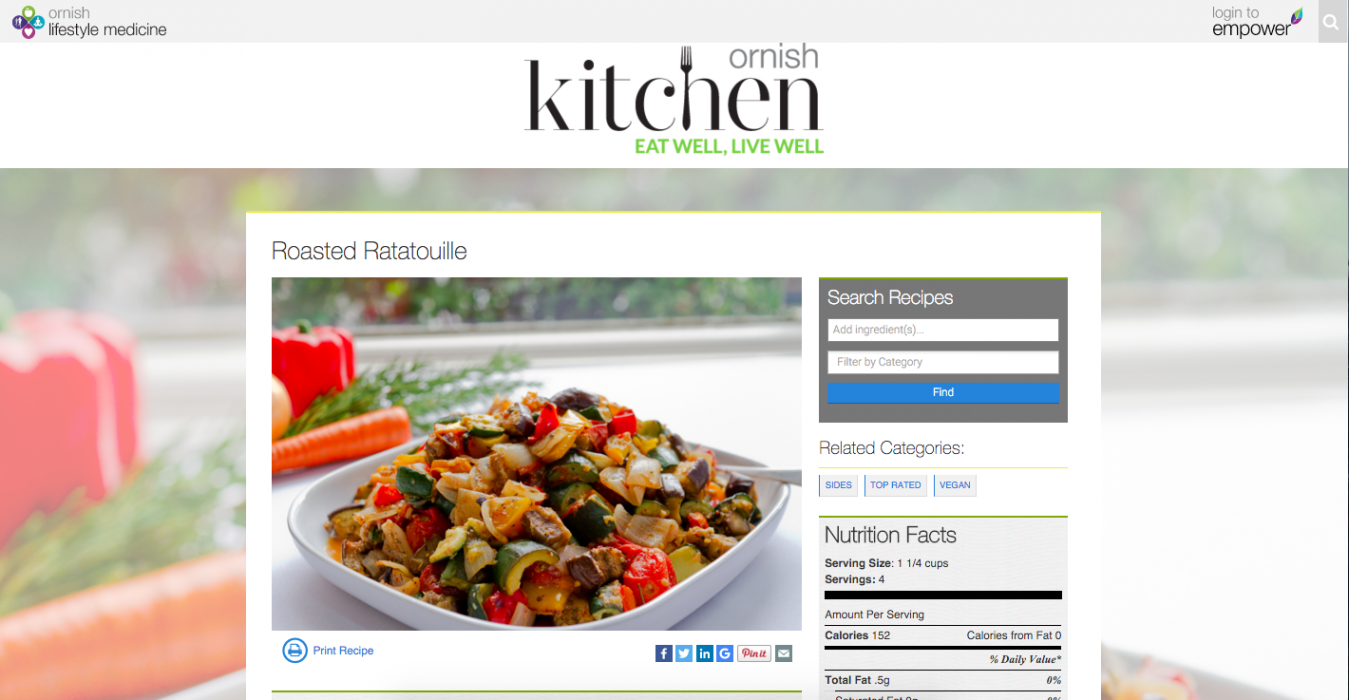 Ornish Kitchen recipe page
